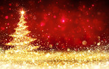 Shining Christmas Tree - Golden Glitter sparkling In The Red Background