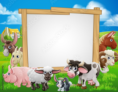 Aluminium Boerderij Farm Animals Cartoon Sign