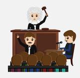 Judge Striking on Desk in Courtroom