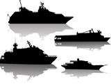four modern small ship silhouettes with reflections
