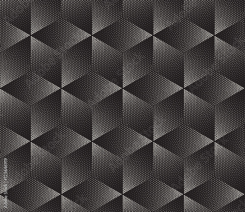 Vector Seamless Black and White Stippling Halftone Gradient Rhombus Pattern - 123646919