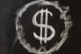 Значок доллар белый мел чёрная доска доска. Символ доллар рисунок школьная доска