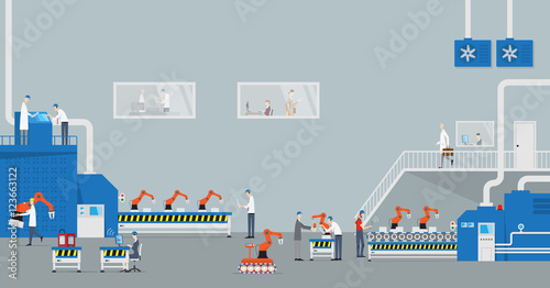 Industry 4.0 Concept. Front view of industrial production line with automated robots.