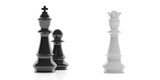 3d rendering chess king, queen and pawn on white background