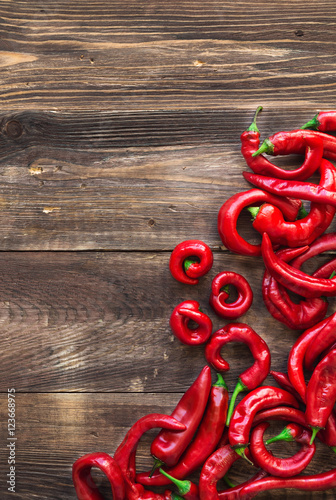 Poster Organic fresh red hot chili peppers
