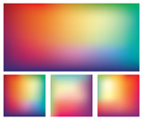 Fototapety Set of blurred gradient mesh backgrounds in bright rainbow colors. Colorful smooth banner templates. Easy editable soft colored abstract vector illustration in eps8 without transparency.