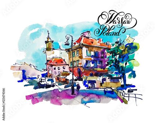 watercolor sketching old town historical buildings Warsaw capita - 123674366