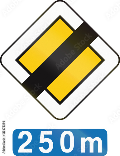 Poster Belgian regulatory road sign - End of priority road in 250 meters