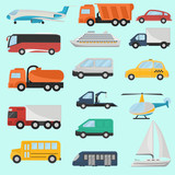Set of different color transport vehicle icons. Flat design. Modern concept for web and mobile