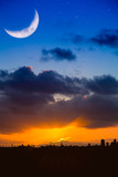 City Skyline  at Sunrise or Sunset with Moon and Stars
