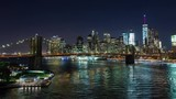 Brooklyn Bridge and Manhattan Skyline New York City Night Timelapse - 123689939
