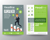 brochure flyer layout template with businessman climbing on red arrow graph
