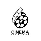 film strip cinema abstract logo design template - 123701993
