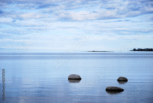 Poster Coastal view with rocks in calm water