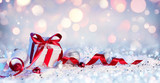 """Gift Box And Baubles On Snow With Shiny Background 123711784,The teatime"""""""