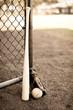 Sepia baseball bat glove and ball on field