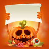 Happy Halloween concept card with pumpkin holding paper banner