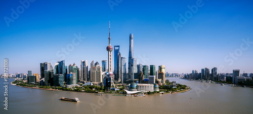 Papiers peints Shanghai shanghai skyline panoramic view at dusk ,China