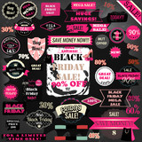 Vector set of Black Friday labels and ribbons design set in retr