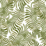 Watercolor seamless pattern with fern frond palm leaves. Hand drawn tropical background.