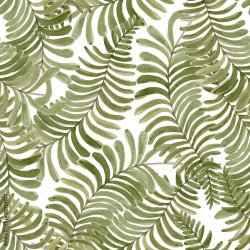 Watercolor seamless pattern with fern frond palm leaves. Hand drawn tropical background. - 123724920