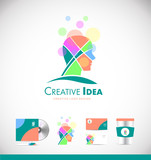 Creative idea concept human head logo icon design