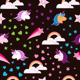 Abstract seamless pattern for girls, boys.Creative vector background with unicorn, hearts.Funny wallpaper for textile and fabric.Fashion style.Colorful bright picture for children.Pink, yellow, blue