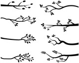 Cartoon vector black tree branch silhouettes - 123738122