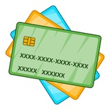 Plastic cards icon. Cartoon illustration of plastic cards vector icon for web