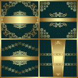 Set of beauty cards on seamless background. Vintage decoration with luxury borders, ribbons and frames. Retro design