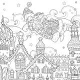 Vector cute christmas fairy tale town doodle.