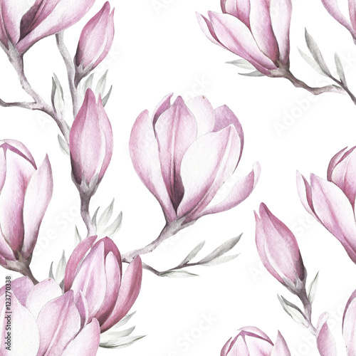 Fototapeta Seamless pattern with blooming magnolia twig. Watercolor illustration.
