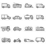 Fototapety Vehicles, line icons set. Collection of ground transportation. Various transport , vector linear illustration. car, truck, train, public transportation, bike, bulldozer. Wheel vehicles elements