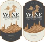 wine labels set with a landscape of vineyards - 123782583