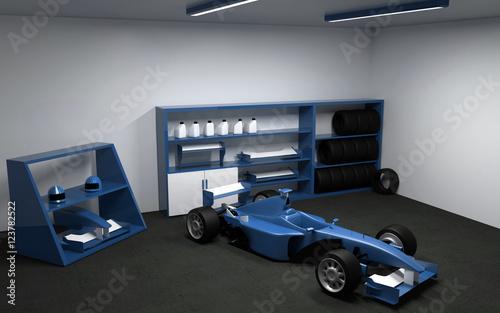 Foto op Plexiglas F1 Formula one, racing car in garage. 3D render.