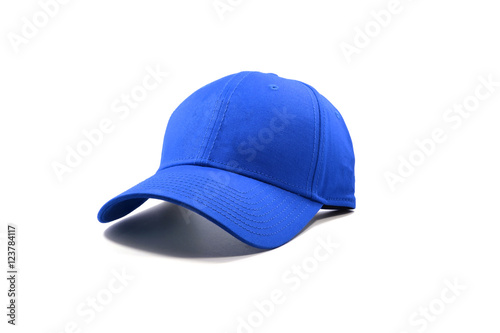 Closeup of the fashion blue cap isolated on white background.
