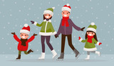 Fototapety Family  ice-skating outdoors. Vector illustration of a flat desi
