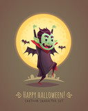Funny scaring vampire. Halloween cartoon character concept. Vector illustration.