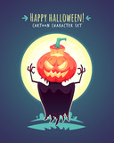Funny Halloween pumpkin scarecrow. Vector character illustration