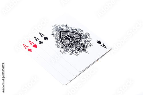 Poster A winning poker hand of four aces playing cards suits on white.