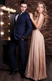 gorgeous woman with blond hair and handsome man in elegant clothes - 123811946