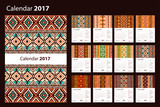 Calendar 2017 starting from Sunday. Ethnic geometric pattern. Vector Illustration