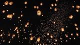 Floating Floating asian lanterns in ChiangMai ,Thailand