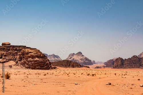 Poster panoramic view of desert wadi rum, jordan