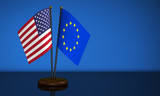 USA And European Union Desk Flags