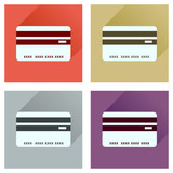 Concept of flat icons with long shadow bank card