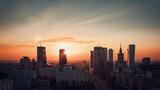 Fototapety Warsaw Downtown sunrise skyline, Poland