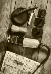 Vintage set of Barbershop.Toning sepia