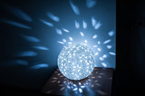 included lamp ball on table in kitchen with blue light