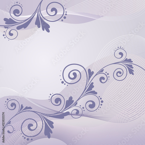 Fototapeta floral ornament on purple background, vector
